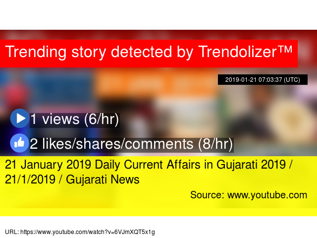21 January 2019 Daily Current Affairs in Gujarati 2019 / 21/1/2019