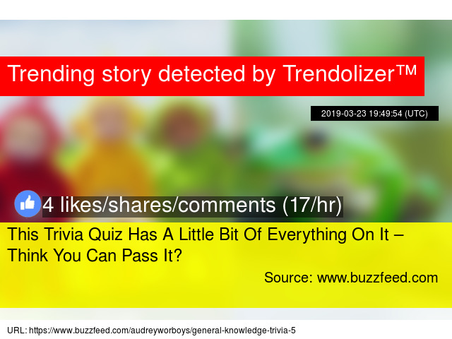 This Trivia Quiz Has A Little Bit Of Everything On It – Think You