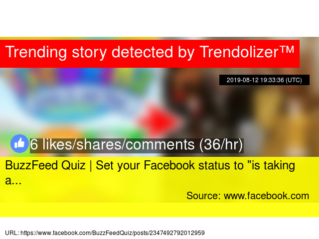 BuzzFeed Quiz | Set your Facebook status to ""