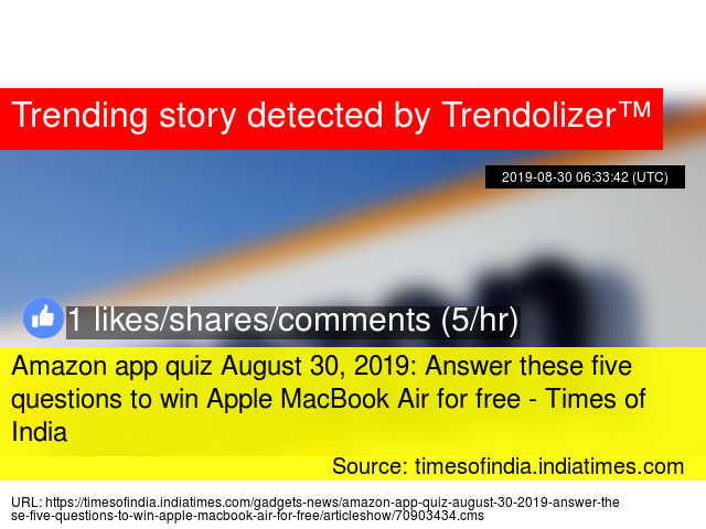 Amazon app quiz August 30, 2019: Answer these five questions